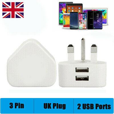 Dual Port USB Charger 3 Pin UK Mains Wall Plug Adapter For Phones Tablets • 3.99£