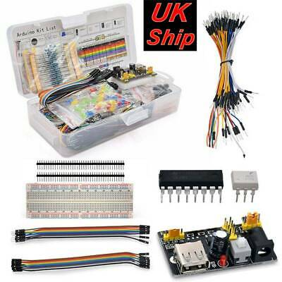 Electronic Component Starter Kit Wires Breadboard LED Buzzer Resistor Transistor • 12.39£