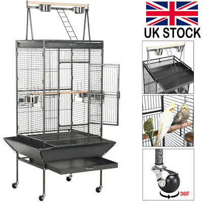 £115.98 • Buy Large Metal Bird Cage Play Top For African Grey Parrots Cockatiels Rolling Stand