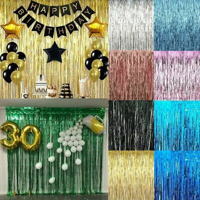 2M-3M Self Adhesive Foil Fringe Tinsel Shimmer Curtain Happy Birthday Party Wall • 3.82£