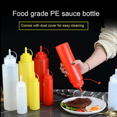 Plastic Squeeze Squirts Bottles Ketchup Mustard Hot Sauces Olive Oil Bottles Fq • 3.05£