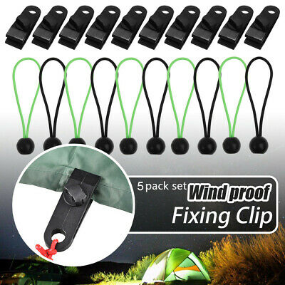 Tarp Clips Bungee Cord Black Ball Bungee Tent Fasteners Clips Holder • 7£