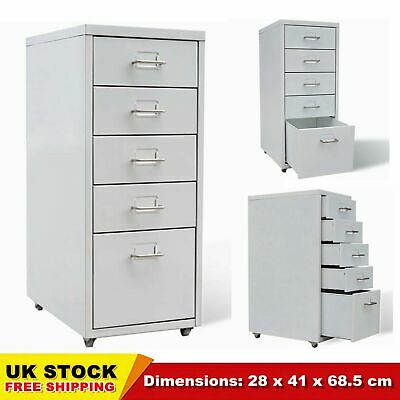 5 Drawer Metal Home Office Filing Cabinet Large File Storage Steel With Castors • 58.49£
