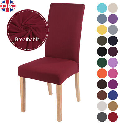 Universal Dining Chair Seat Covers Slip Stretch Wedding Banquet Party Removable • 4.79£