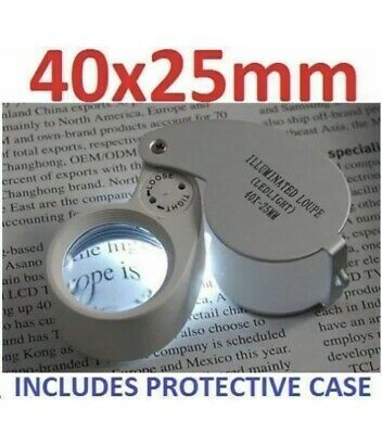 Jewellers Loupe 40 X 25mm Eye Glass Piece Magnifier Loop CW LED Light UK • 4.60£