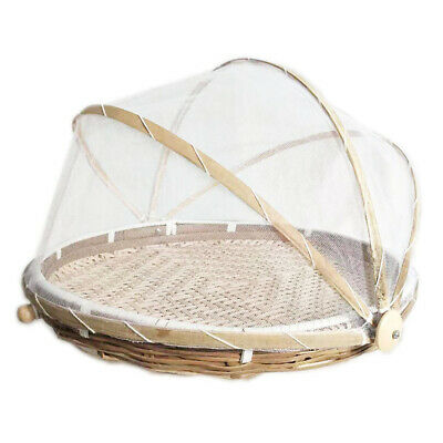 Folding Bamboo Basket Mosquito Dustpan Food Storage Dustproof Cover (S) • 9.20£