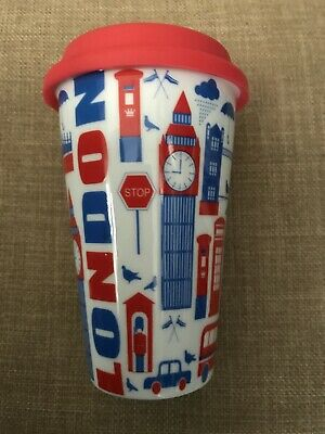 £17.66 • Buy CIROA Porcelain RED WHITE BLUE LONDON GRAPHIC TRAVEL COFFEE MUG SILICONE LID