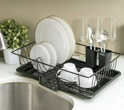 Large Black Wired Kitchen Dish Drainer Rack With Drip Tray And Cutlery Holder • 14.94£
