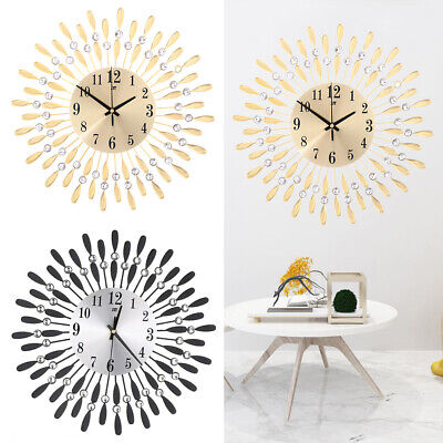 Crystal Wall Clock 37cm Diamante Wire Sun Art Home Jeweled Numeral Clock Hanging • 18.95£