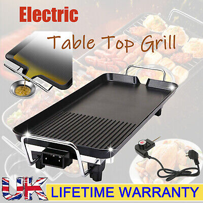 Large XL Electric Table Top Grill Griddle BBQ Hot Plate Camping Cooking Cast Pan • 36.75£