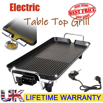 Electric Teppanyaki Table Top Grill Griddle BBQ Hot Plate Barbecue Rapid Heating • 14.24£