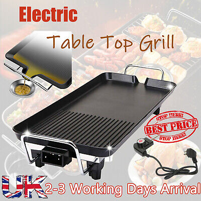 Electric Grill Griddle Table Top BBQ Hot Plate Camping Cooking Multi Temperature • 24.54£
