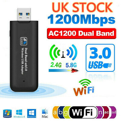 1200Mbps USB 3.0 Wireless WiFi Network Receiver Adapter Dual Band Dongle UK • 7.99£