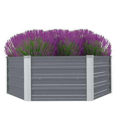 Garden Planter Galvanised Steel Metal 129x129x46cm Grey Plant Raised Bed Box New • 30.99£