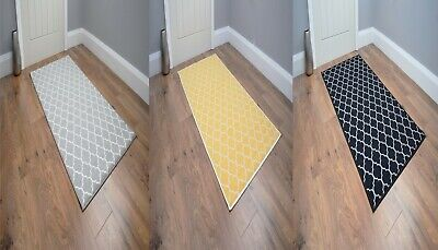 Large Small Grey Black Rugs Hallway Runner Ochre Non Slip Washable Kitchen Mats • 14.95£