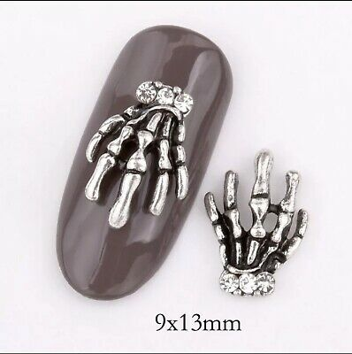 10x  Nail Art Decoration Bows Decals| Halloween| Gems| Stickers| Charms, Skull • 4.59£