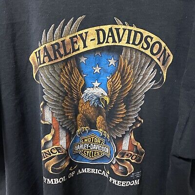 $ CDN120.65 • Buy Vintage Harley Davidson 3D Emblem Shirt Eagle 3XL 1991 Texas