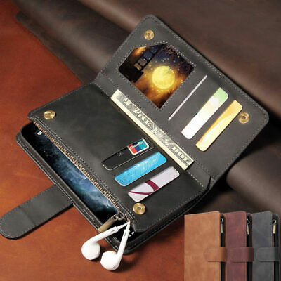 Retro Leather Zipper Card Wallet Case Stand Cover For IPhone 12 11 Pro 7 8 SE XR • 7.25£