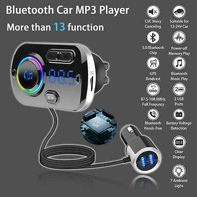 Wireless Bluetooth MP3 Player Car Kit FM Transmitter Handsfree QC3.0 USB Charger • 17.25£