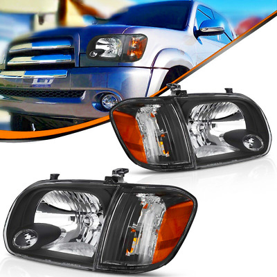 $131.54 • Buy  Fit For 2005-2006 Toyota Tundra Double/Crew Cab Black Headlights Assembly Pair