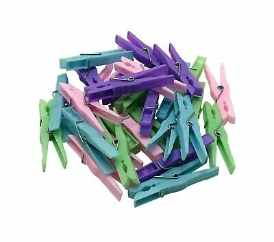 Clothes Pegs Pack Of 20 Colourful Plastic Laundry Pegs Durable Strong Spring • 2.90£