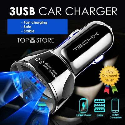 £5.49 • Buy FAST CAR CHARGER 3 USB Port For Iphone Samsung Huawei Universal Socket Adapter