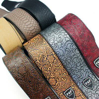 $ CDN16.47 • Buy P&P Adjustable Leather Guitar Strap Embossed For Acoustic Electric Bass Guitar