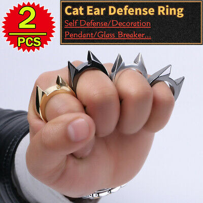$ CDN7.46 • Buy 2P Self Defense Finger Ring Fashion Punk Goth Stainless Jewelry Outdoor Survival