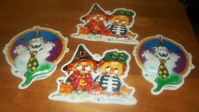 $ CDN22.65 • Buy 4 Vtg Giordano Halloween Plastic Wall Decorations Ghost Trick Or Treat Costumes