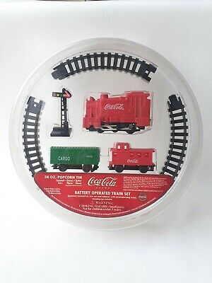 Vintage Coca Cola Battery Operated Train Set In Popcorn Tin Lid Sealed NEW • 12.77£