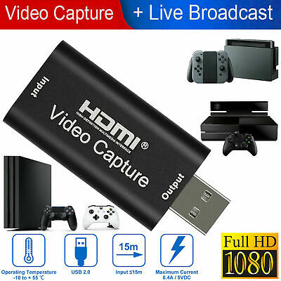 4K 1080p HD HDMI To USB2.0 Video Audio Capture Card Recorder Windows Android Lot • 9.59£