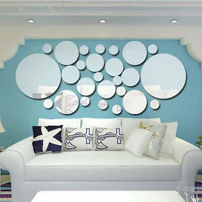 Circle Mirror Tiles Wall Sticker Art Decal Stick On Bedroom Home Art Decorations • 5.12£
