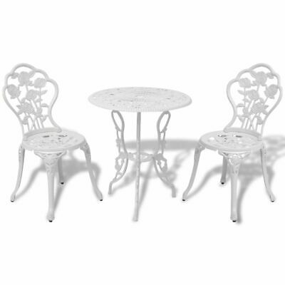 3 Piece Bistro Set Cast Aluminium Garden Patio Furniture Table And Chairs White • 252.89£