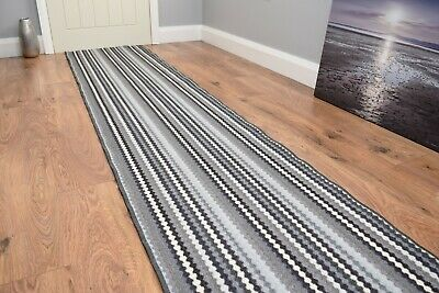 New Grey Stairway Hallway Runner Very Long Non Slip Stripe Door Mat Corridor Rug • 15£