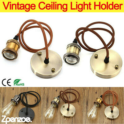 Vintage Ceiling Light Holder E27 Pendant Cord Flex Hanging Lamp Bulb Fitting Kit • 9.59£