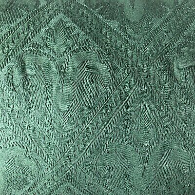 £4.94 • Buy Green Fleur Feather Square Pattern Curtain Upholstery Fabric Material 137cm Wide
