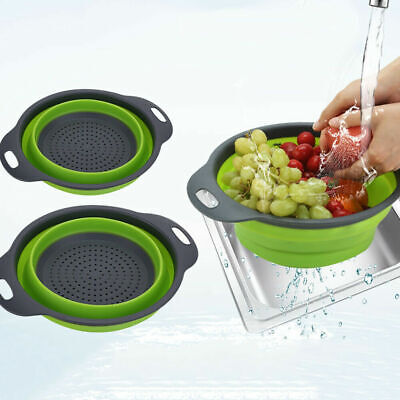 Silicone Kitchen Collapsible Colander Fruit Vegetable Foldable Strainer Basket • 4.08£