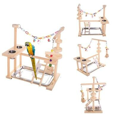 Bird Play Stand Parrot Playground Wood Ladder Perch Gym Playpen With Feeder Cups • 39.99£
