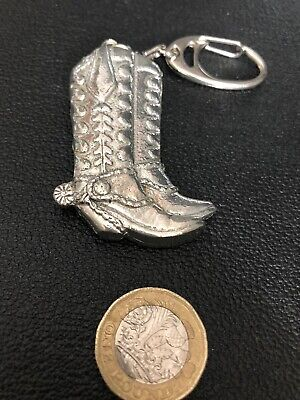 COWBOY BOOTS - Great Quality KEYRING Pewter Made In England Gift -New • 5.50£