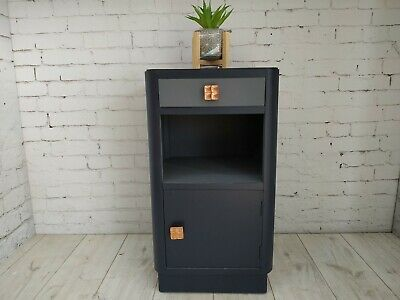 Vintage Bedside Cabinet Chest Of Drawers Upcycled Blue Fusion Grey Bedside Table • 100£