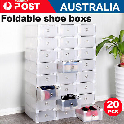 AU41.99 • Buy 10/20x Clear Stackable Plastic Lady Shoe Storage Box Foldable Cabinet Organiser