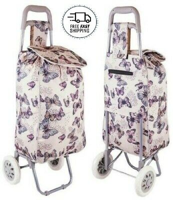 SPECIAL OFFER Large Shopping Trolley Folding Durable Wheeled Bag Butterfly Print • 13.99£