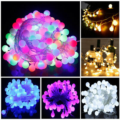 Electric Plug-in 100/200LED Ball Xmas Bulb Fairy String Lights Outdoor/Indoor UK • 14.98£