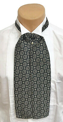 $18.99 • Buy Antique Gold & Black Paisley Ascot Cravat Tie With Pin Victorian Morning Dress