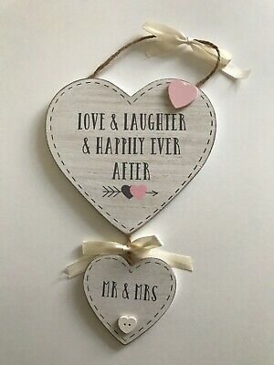 Mr & Mrs Hearts Hanging Plaque Love & Laughter Wedding Anniversary Gift 💕 • 4.99£
