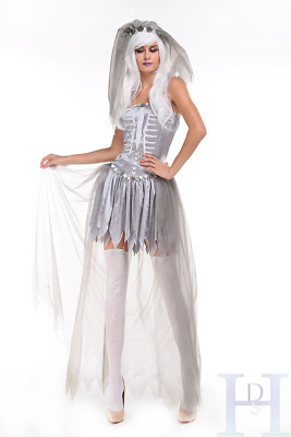 Ghostly Corpse Bride Costume Ladies Sexy Zombie Halloween Fancy Dress Outfit • 11.99£