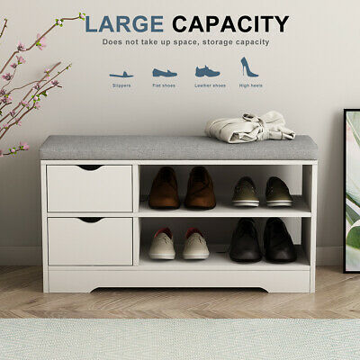 Wooden Shoe Bench Shoe Storage Cabinet White Hallway Bench With Seat Cushion • 49.90£