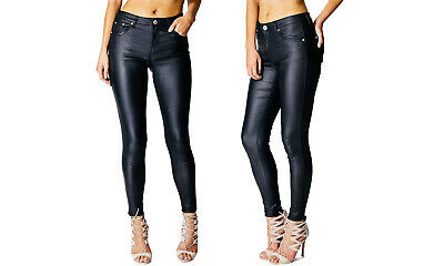 New Womens Ladies High Waist Black Pu Jeans Leather Look Skinny Stretch Trouser • 14.99£