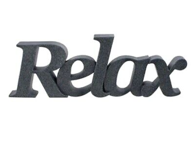 CHARCOAL GREY SANDSTONE  RELAX WORD FREESTANDING ORNAMENT SIGN Bathroom • 17.99£