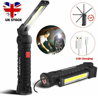 £14.99 • Buy LED COB Rechargeable Work Light Magnetic Torch Flexible Inspection Lamp Cordless